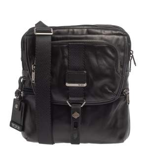 TUMI Black Leather Alpha Bravo Arnold Crossbody Bag