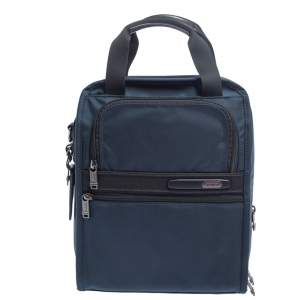 Tumi Blue Nylon And Leather Utility Tote
