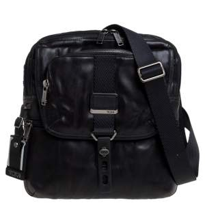TUMI Black Leather Annapolis Zip Flap Messenger Bag