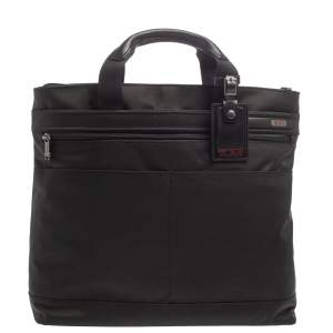 Tumi Black Nylon and Leather Companion Tote