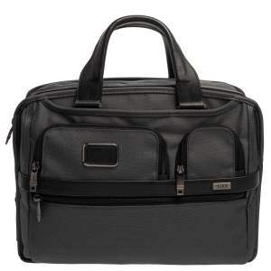 TUMI Grey/Black Nylon and Leather Expandable Organizer Computer Briefcase