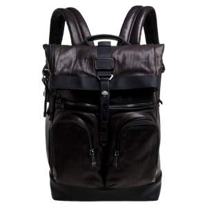 TUMI Black/Metallic Bronze Leather Alpha Bravo London Roll Top Backpack