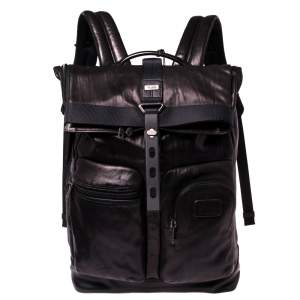 TUMI Black/Metallic Bronze Leather Alpha Bravo Luke Roll Top Backpack