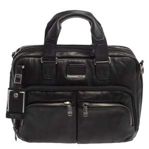 TUMI Black Leather Alpha Bravo Albany Slim Computer Briefcase