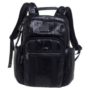 TUMI Black Leather Nellis Backpack