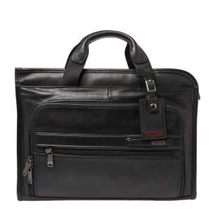TUMI Black Leather Gen 4.2 Slim Deluxe Portfolio Bag