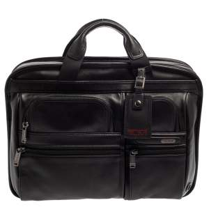 TUMI Black Leather Gen 4.2 T-Pass Med Screen Laptop Slim Briefcase
