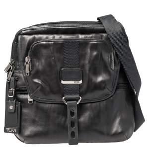 Tumi Black Leather Alpha Bravo Arnold Expandable Messenger Bag