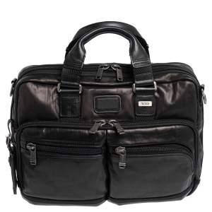 TUMI Metallic Dark Brown Leather Alpha Bravo Andersen Slim Commuter Briefcase