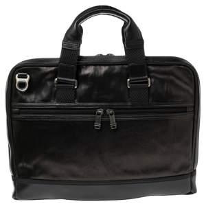 TUMI Brown Leather Alpha Bravo Andrew Slim Briefcase