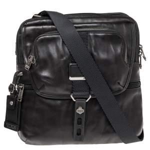 حقيبة ماسنجر تومي جلد أسود ميتاليك ألفا برافو أرنولد ذات قلاب وسحاب