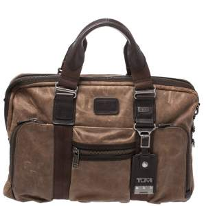 Tumi Brown Leather Alpha Bravo McNair Slim Briefcase Bag