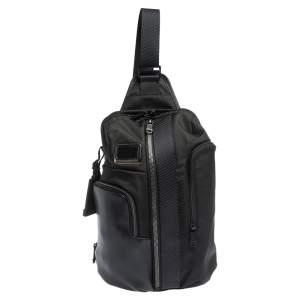 حقيبة تومي ساراتوغا الفا برافو نايلون وجلد سودائ