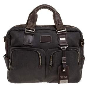 TUMI Grey/Brown Canvas and Leather Alpha Bravo Briefcase