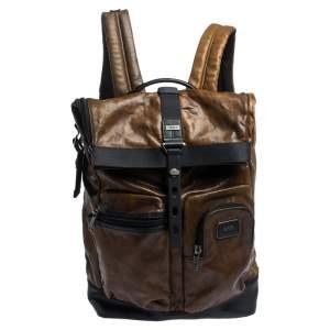 حقيبة ظهر تومي لندن رول أب جلد سوداء/ بنية