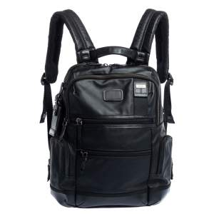 Tumi Black Coated Canvas and Leather Alpha 3 Brief Pack Backpack