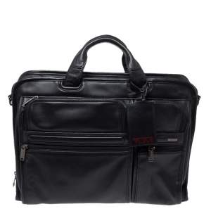 TUMI Black Leather Laptop Organizer Briefcase