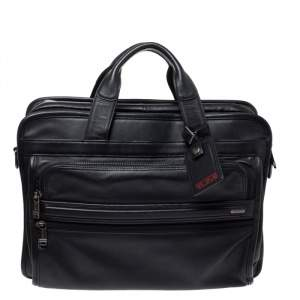 TUMI Black Leather Carry On Laptop Bag