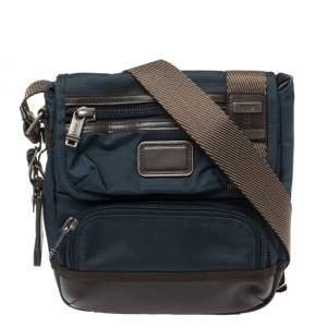 Tumi Blue/Brown Nylon and Leather Alpha Bravo Barstow Messenger Bag