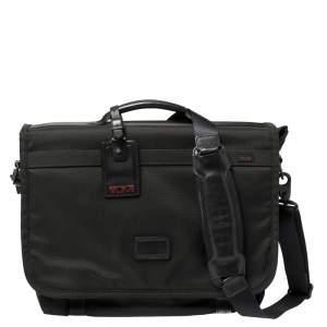 Tumi Black Nylon Alpha Flap Laptop Bag