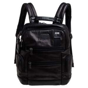 TUMI Dark Brown/Black Leather Alpha Bravo Knox Backpack