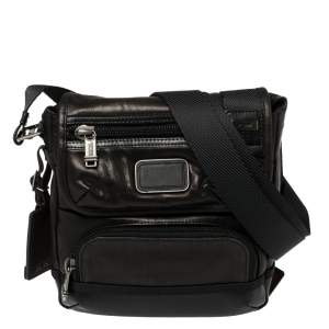 Tumi Dark Brown/Black Leather Alpha Bravo Barstow Messenger Bag