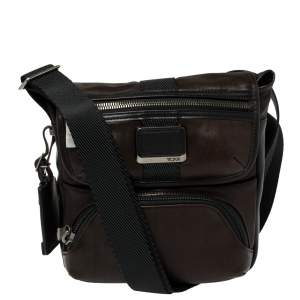 Tumi Dark Brown/Black Leather Barton Crossbody Bag