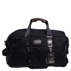 TUMI Black Nylon Alpha Bravo Dorado Duffel Bag