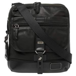 Tumi Black Coated Canvas and Leather Annapolis Zip Flap Messenger Bag