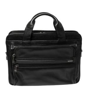 Tumi Black Leather Expandable Laptop Bag
