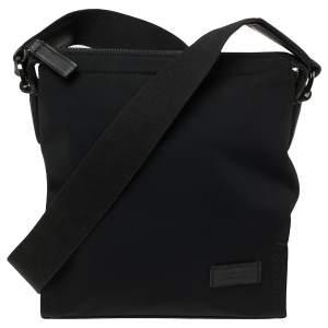 TUMI Black Nylon and Leather Messenger Bag
