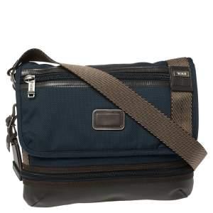 حقيبة ماسنجر تومي برافو بارستو جلد ونايلون أزرق/ بني