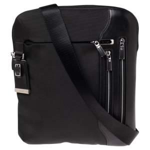 TUMI Black Nylon and Leather Arrive Messenger Bag