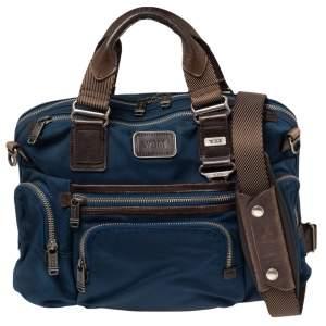 TUMI Blue/Brown Nylon and Leather Alpha Bravo Brooks Slim Briefcase