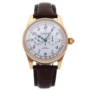 Ulysse Nardin White 18K Yellow Gold Classico Single Button Chronograph Pulsometer 175th Anniversary Limited Edition 381-22 Men's Wristwatch 37 MM