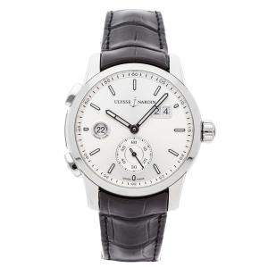 Ulysse Nardin Silver Stainless Steel Dual Time Manufacture 3343-126/91 Men's Wristwatch 42 MM