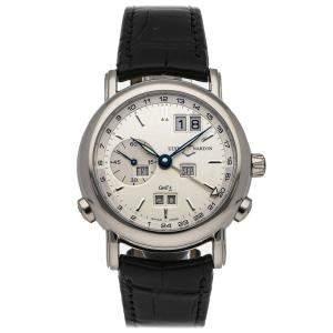 Ulysse Nardin Silver 18K White Gold GMT Perpetual 320-22/31 Men's Wristwatch 38.5 MM