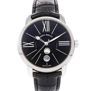 Ulysse Nardin Black Stainless Steel Classico Luna 8293-122-2/42 Men's Wristwatch 40 MM