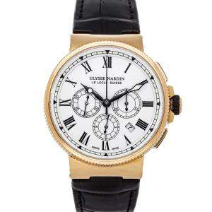 Ulysse Nardin White 18K Rose Gold Marine Chronograph 1506-150/Le Men's Wristwatch 43 MM