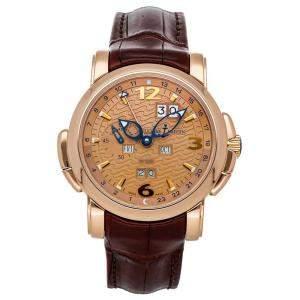 Ulysse Nardin Brown 18K Rose Gold GMT Perpetual 322-66 Men's Wristwatch 42 MM