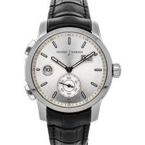 Ulysse Nardin Silver Stainless Steel Dual Time 3343-126/91 Men's Wristwatch 42 MM