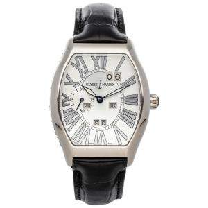 Ulysse Nardin Silver 18K White Gold Ludovico Perpetual Calendar 330-48 Men's Wristwatch 38 x 43 MM