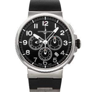 Ulysse Nardin Black Stainless Steel Marine Chronograph 1503-150-3/62 Men's Wristwatch 43 MM