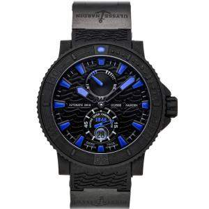 Ulysse Nardin Blue/Black Rubber Coated Stainless Steel Maxi Marine Black Sea 263-92-3C/923 Men's Wristwatch 46 MM