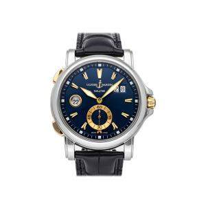 Ulysse Nardin Blue Stainless Steel Dual Time Boutique Edition 243-55/93-BQ Men's Wristwatch 42 MM