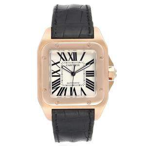 Cartier White 18K Rose Gold Santos 100 W20095Y1 Men's Wristwatch 38x38MM