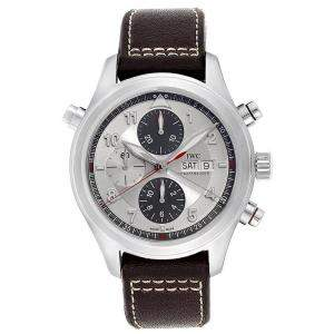 IWC Silver Stainless Steel Spitfire Double Chronograph IW371806 Men's Wristwatch 44MM