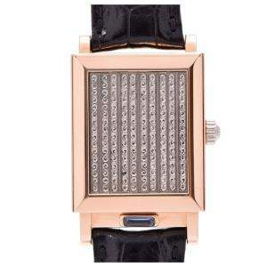 Vacheron Constantin White Pink Gold and Leather Jalousie 91003 / 000B-8397 Men's Wristwatch 25x40MM