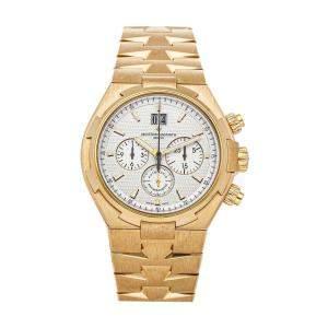 Vacheron Constantin Silver 18K Yellow Gold Overseas Chronograph 49150/B01J-9215 Men's Wristwatch 42.5 MM