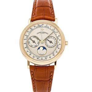 Vacheron Constantin Silver 18K Yellow Gold Complete Calendar Moon Phase 47052/000J-7963 Men's Wristwatch 36 MM